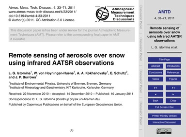 Remote Sensing of Aerosols Over Snow Usi... by Istomina, L. G.