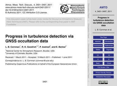 Progress in Turbulence Detection Via Gns... by Cornman, L. B.