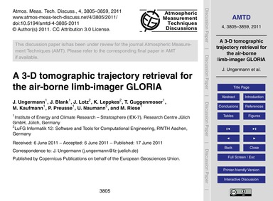 A 3-d Tomographic Trajectory Retrieval f... by Ungermann, J.