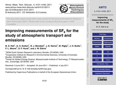 Improving Measurements of Sf6 for the St... by Hall, B. D.