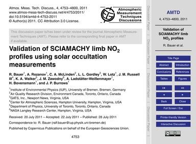 Validation of Sciamachy Limb No2 Profile... by Bauer, R.