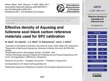 Effective Density of Aquadag and Fullere... by Gysel, M.