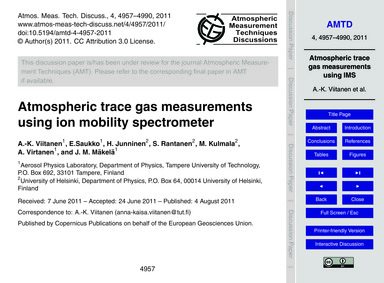 Atmospheric Trace Gas Measurements Using... by Viitanen, A.-k.