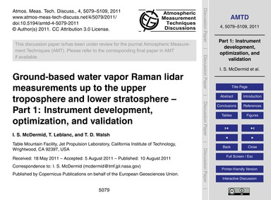 Ground-based Water Vapor Raman Lidar Mea... by McDermid, I. S.