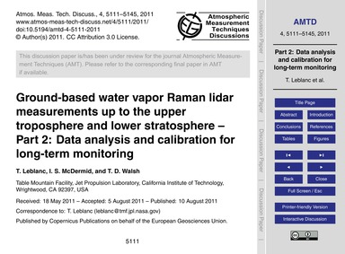 Ground-based Water Vapor Raman Lidar Mea... by Leblanc, T.