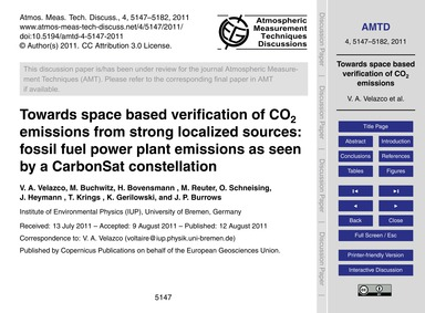 Towards Space Based Verification of Co2 ... by Velazco, V. A.