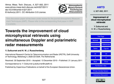Towards the Improvement of Cloud Microph... by Dufournet, Y.