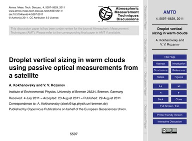 Droplet Vertical Sizing in Warm Clouds U... by Kokhanovsky, A.