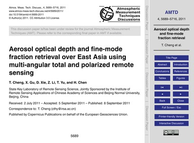 Aerosol Optical Depth and Fine-mode Frac... by Cheng, T.