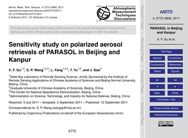 Sensitivity Study on Polarized Aerosol R... by Gu, X. F.