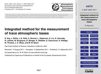 Integrated Method for the Measurement of... by Key, D.