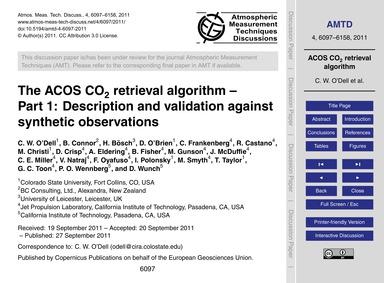 The Acos Co2 Retrieval Algorithm – Part ... by O'Dell, C. W.
