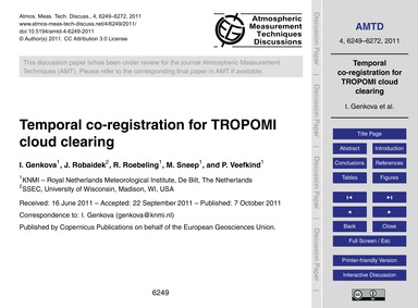 Temporal Co-registration for Tropomi Clo... by Genkova, I.