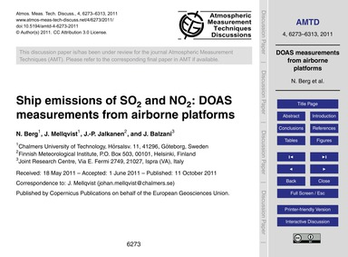 Ship Emissions of So2 and No2: Doas Meas... by Berg, N.