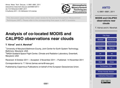 Analysis of Co-located Modis and Calipso... by Várnai, T.