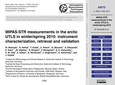 Mipas-str Measurements in the Arctic Utl... by Woiwode, W.