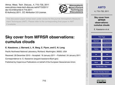 Sky Cover from Mfrsr Observations: Cumul... by Kassianov, E.