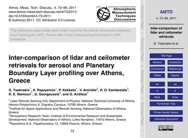 Inter-comparison of Lidar and Ceilometer... by Tsaknakis, G.