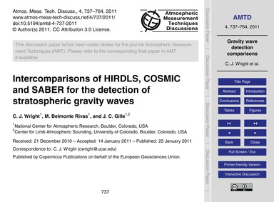 Intercomparisons of Hirdls, Cosmic and S... by Wright, C. J.