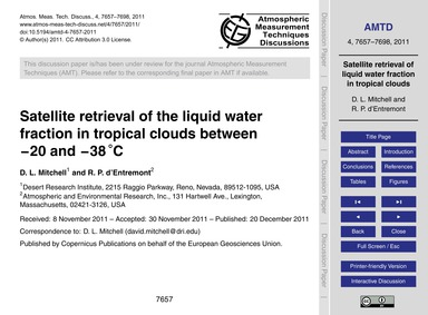 Satellite Retrieval of the Liquid Water ... by Mitchell, D. L.