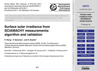 Surface Solar Irradiance from Sciamachy ... by Wang, P.