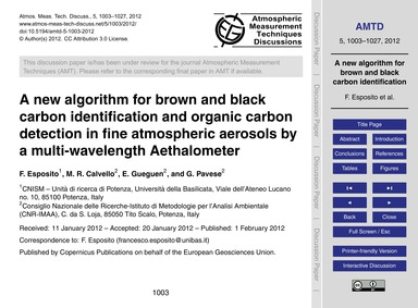 A New Algorithm for Brown and Black Carb... by Esposito, F.