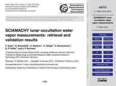 Sciamachy Lunar Occultation Water Vapor ... by Azam, F.