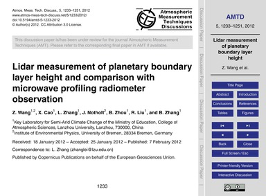 Lidar Measurement of Planetary Boundary ... by Wang, Z.