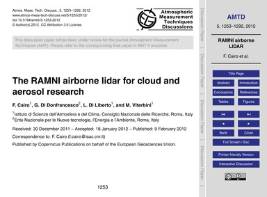 The Ramni Airborne Lidar for Cloud and A... by Cairo, F.