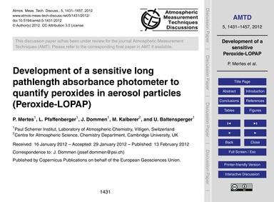 Development of a Sensitive Long Pathleng... by Mertes, P.
