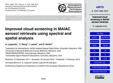 Improved Cloud Screening in Maiac Aeroso... by Lyapustin, A.