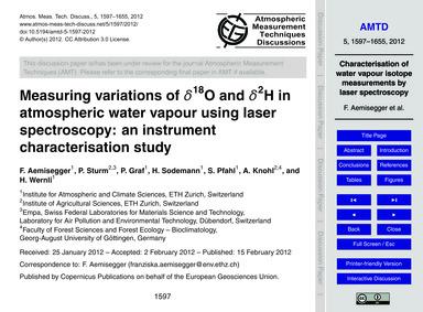 Measuring Variations of Δ18O and Δ2H in ... by Aemisegger, F.
