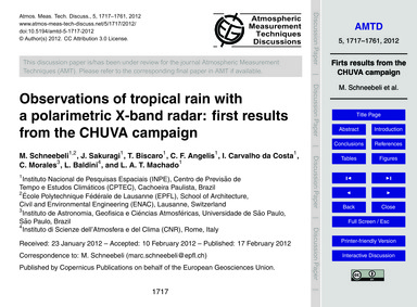 Observations of Tropical Rain with a Pol... by Schneebeli, M.