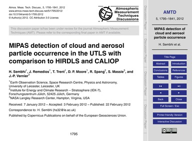 Mipas Detection of Cloud and Aerosol Par... by Sembhi, H.