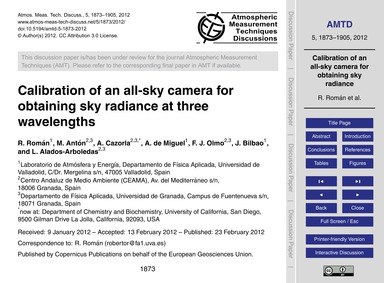 Calibration of an All-sky Camera for Obt... by Román, R.