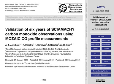 Validation of Six Years of Sciamachy Car... by De Laat, A. T. J.