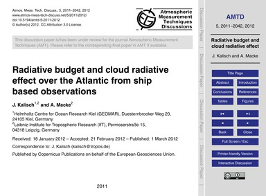 Radiative Budget and Cloud Radiative Eff... by Kalisch, J.