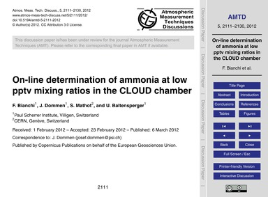 On-line Determination of Ammonia at Low ... by Bianchi, F.