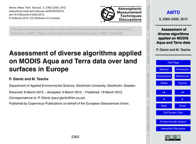 Assessment of Diverse Algorithms Applied... by Glantz, P.