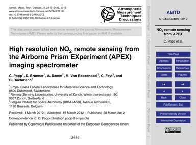 High Resolution No2 Remote Sensing from ... by Popp, C.