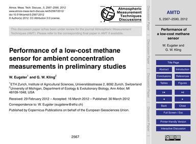 Performance of a Low-cost Methane Sensor... by Eugster, W.