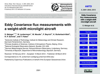 Eddy Covariance Flux Measurements with a... by Metzger, S.