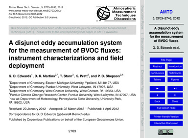 A Disjunct Eddy Accumulation System for ... by Edwards, G. D.