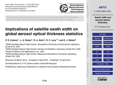 Implications of Satellite Swath Width on... by Colarco, P. R.