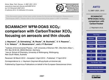 Sciamachy Wfm-doas Xco2: Comparison with... by Heymann, J.