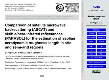 Comparison of Satellite Microwave Backsc... by Prigent, C.