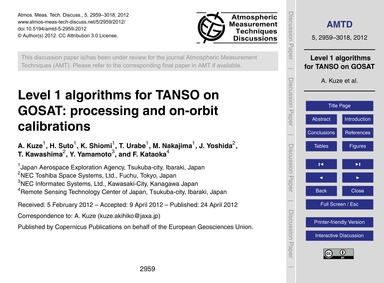 Level 1 Algorithms for Tanso on Gosat: P... by Kuze, A.