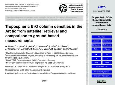 Tropospheric Bro Column Densities in the... by Sihler, H.