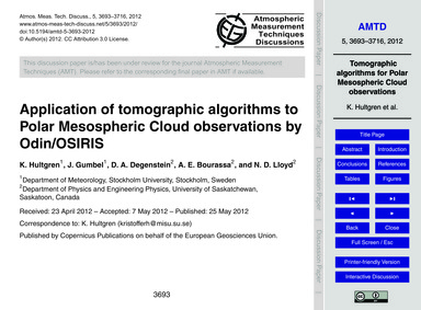 Application of Tomographic Algorithms to... by Hultgren, K.