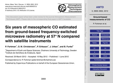Six Years of Mesospheric Co Estimated fr... by Forkman, P.